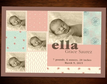 Baby Girl Birth Announcement Customized_G1103