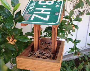 License Plate Redwood Platform Bird Feeder With Two Spark Plug Perches