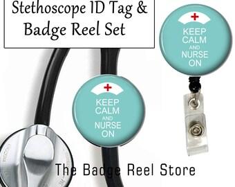 Retractable ID Badge Holder - Stethoscope ID Tag - Keep Calm Nurse On