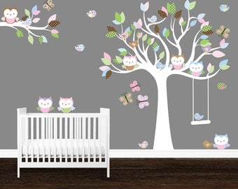Nursery wall art, Wall Stickers Nursery, Girls Nursery decal, Owl Wall Decal, Owl tree wall art, Birds wall decal, Owl Stickers
