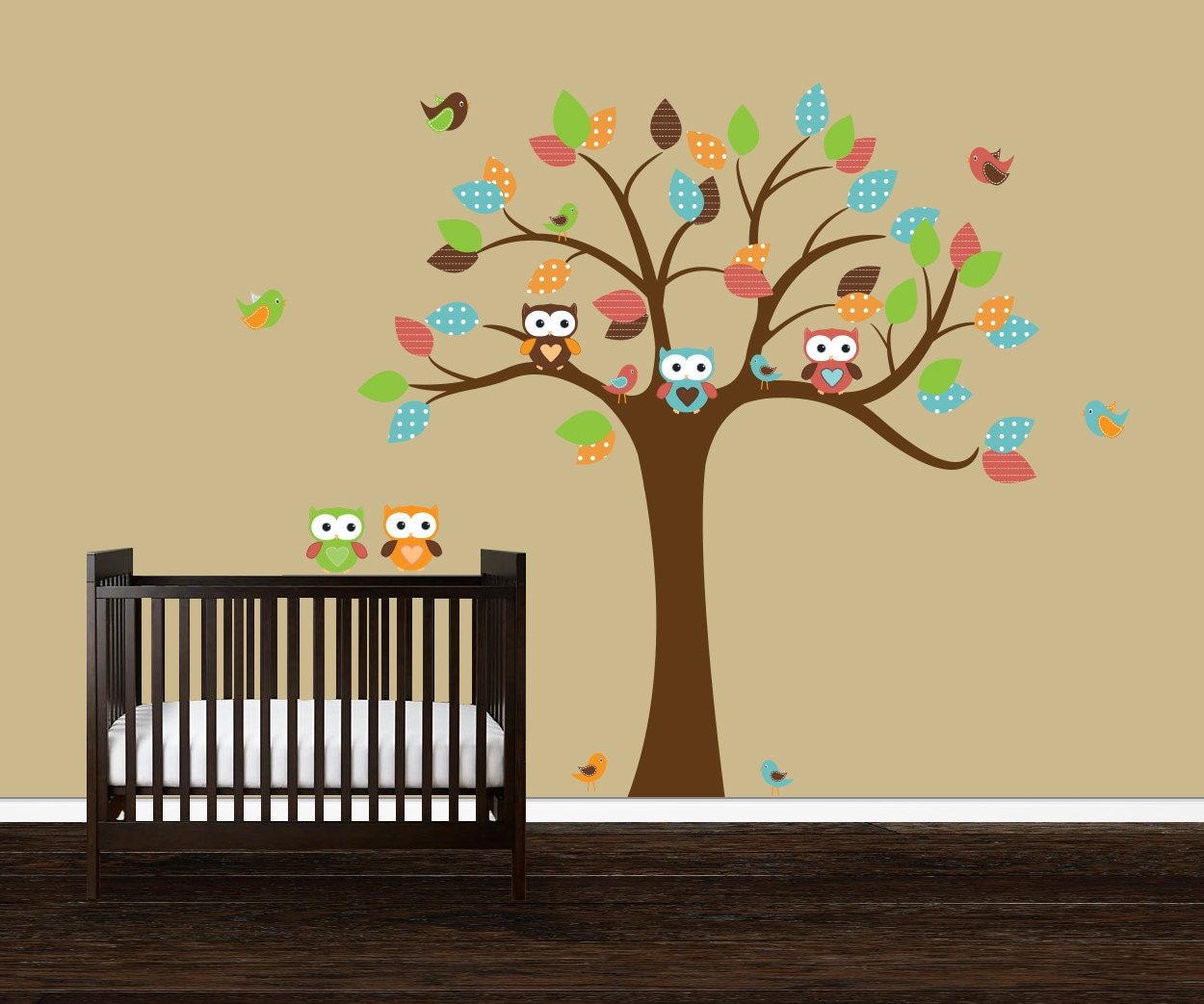 boys owl wall decal vinyl nursery decal tree wall decal owl. Black Bedroom Furniture Sets. Home Design Ideas