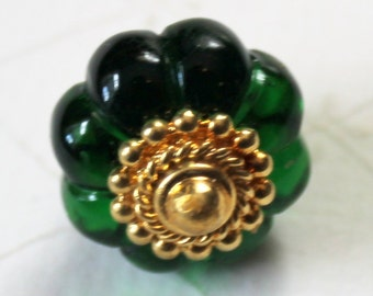 """Vintage Green Glass Ball Button with Brass Finial - 13/16"""" - Vintage Ball Button"""