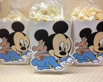 Baby Mickey Mouse Party or Baby Shower Popcorn or Favor Boxes - Set of 10