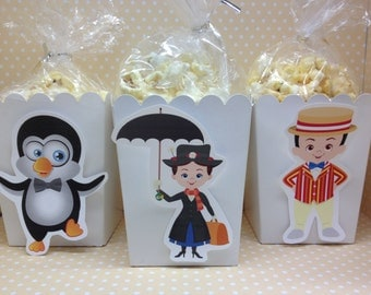 Mary Poppins Party Popcorn or Favor Boxes - Set of 10