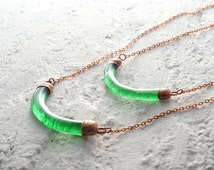 Irish Whiskey Necklace - Made from Recycled Jameson Bottle - Melted Glass and Copper - Recycled Upcycled Repurposed Jewelry