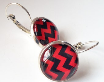 Red and Black Chevron Earrings