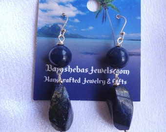 Royal Jade & Lapis Lazuli Dangles in Sterling Silver- Royal Blue- Lapis Lazuli Earrings- Jade-  Royal Blue Jade- September- Blue Gemstones