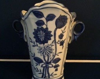 Flared Handled Vase Blue and White Reduced