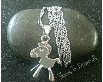 Silver jewelry/.925 Silver Trojan horse pendant necklace / Wedding / Gift