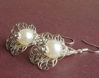 Pearls Earrings Calla Silver Earrings Filigree Earrings Pearls  Dangle Earrings Floral Jewelry Bridal Jewelry Bridesmaids Gift