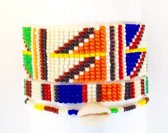 African business bracelet has woven beads