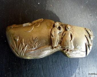 Vintage brass shoe from Aruba, brass boot slipper, aruba souvenir shoe A00/031