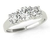 1 Carat Diamond Engagement Ring 14k White Gold, 18k or Platinum - GIA Three Stone Diamond Engagement Ring - Past, Present and Future