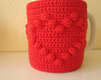 Crochet pattern mug cozy | crochet pattern heart, mug cozy Valentine's day, crochet pattern cup cozy love, Valentine's day gift | Cupid love