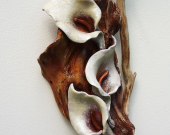 Calla Lily sensual flower wall sculpture, floral art, earthy rustic home decor, mixed media sculpture, wall or table, altar