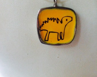 DARLING DINO and DEER - Two-sided Enamel and Pewter Necklace.