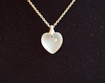 Frosted Heart Necklace ~ Vintage