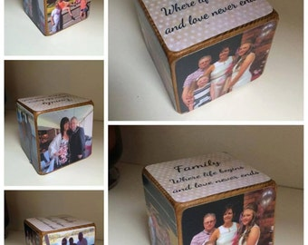 Photo Cube / Photo Block  Family / photo gift / photo gift idea / wooden photo gift / wooden block / wooden photo block / personalised photo