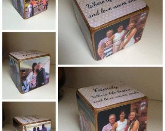 Photo Cube / Photo Block  Family / photo gift / photo gift idea / wooden photo gift / wooden block / wooden photo block / personalised photo