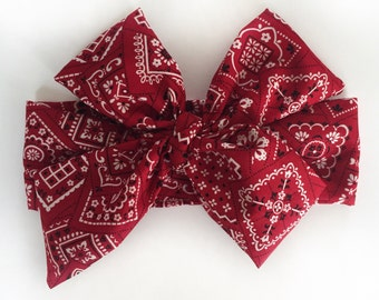 Red bandana print Headwrap