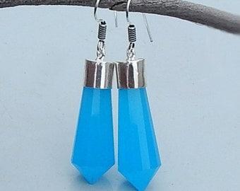 Blue Chalcedony Gemstone 925 silver Dangle Earrings Jewelry, Statment Earrings,  Gift Idea , Birthstone Earrings