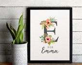E for Emma Customizable Floral Letter Design 8x10 inch Poster Print - P1071
