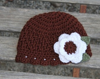 Scalloped Beanie with Flower Applique and Pearl Accent