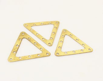 Large Brass Triangle Components ,Geometric Jewelry Findings, Vintage Brass Stampings (FDS103)