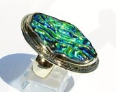 Dichroic Glass, One of a kind Rings, Brass Ring, Artisan Jewerly, Relief Glass