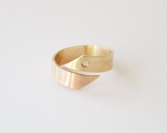 Two Tone Geometric Ring, Unique Bronze and Brass Ring, Bronze Ring, Brass Ring, Asymmetric Ring
