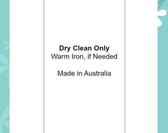 "Dry Clean Only | Soft satin ribbon content care clothing and sewing labels handmade garments  ""Made in Australia"""