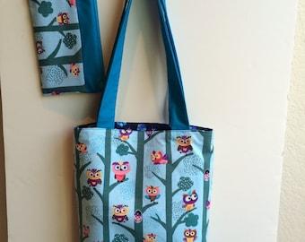 Owl Themed Handmade, Shoulder Bag with matching Wristlet