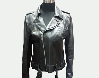 Custom made Leather Jacket - Biker Jacket - Black Jacket - Short Jacket - Women Jacket - Women Leather Jacket