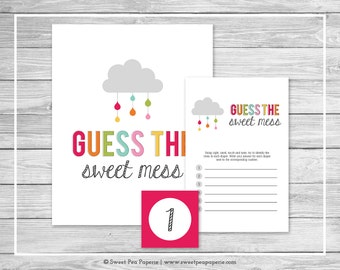 Rainbow Showers Baby Shower Guess The Mess Game - Printable Baby Shower Guess The Sweet Mess Game - Rainbow Baby Shower - SP100