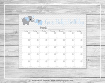 Elephant Baby Shower Guess Baby's Birthday - Printable Baby Shower Guess Baby's Birthday Game - Blue and Gray Elephant Baby Shower - SP102