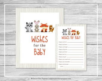 Woodland Animals Baby Shower Wishes for Baby Cards - Printable Baby Shower Wishes for Baby Cards - Woodland Animals Baby Shower - SP105