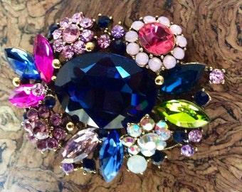 Multicolor Floral Rhinestone Brooch
