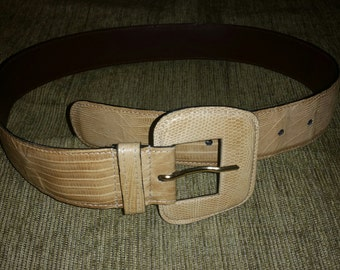 Argentinian Ivory Tan or Off White Genuine Lizard Womens or Ladies Leather Fashion Belt