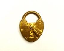 "4 Pieces Framex Old Fashioned Lock Finding, ""Paris"" Inscription, Vintage, Raw Struck Brass, 29x30"