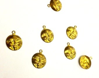36 Pieces Moon Face Charms, Raw Brass, Vintage, Boho, 12mm