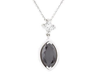 18kt White Gold Black Diamond Pendant And Chain 4L25
