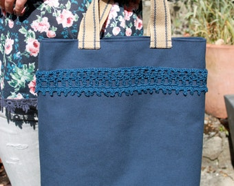blue cotton canvas tote bag