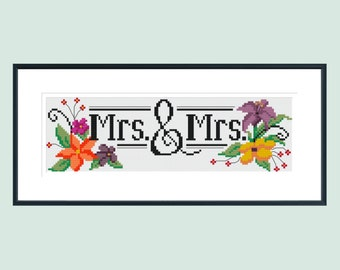 Cross stitch pattern, wedding cross stitch pattern, modern cross stitch pattern, Mrs & Mrs, floral cross stitch pattern, instant download