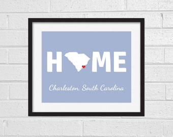 South Carolina Home Map Print - Any City - Art - Home Print - Custom Map Print - South Carolina State - Housewarming - Charleston Columbia