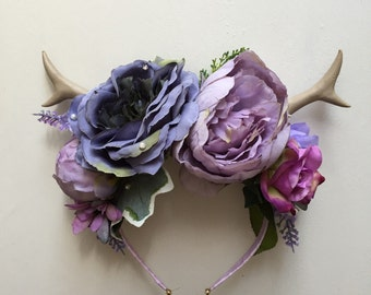 Ethereal Fayette Flower crown with antlers