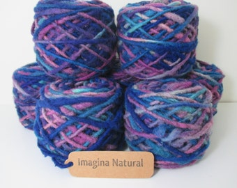 Limited Edition Handspun Hand dyed yarn Bulky Chilean Wool Knitting Multicolour Araucania Chunky Skein Blue Purple Light Blue 100g 3.5oz