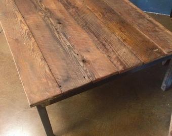 Steel leg reclaimed barn wood coffee table