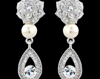 Swarovski Earrings, Bridal Earrings, Pearl Stud Earrings, CZ Earrings, Wedding Earrings, Pearl CZ Studs, Pearl Diamante Earrings