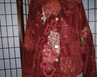 """Women's """"Elvis"""" Jacket - Burgundy- Embroidered w/Gold and Silver"""