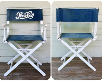 Pepsi Cola Soda Wooden Chair Vintage 1950's 1960's Blue White Folding Director's Commander Seat Advertising